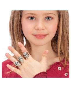 Totenkopf-Ringe für Kinder 6 Stück silberfarben