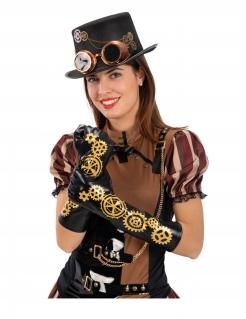 Steampunk-Handschuhe für Damen schwarz-goldfarben 56cm