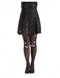 Finstere Kürbis-Strumpfhose für Damen schwarz-weiss