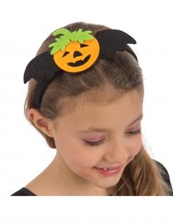 Halloween-Haarreif für Kinder Fledermaus Kürbis schwarz-orange