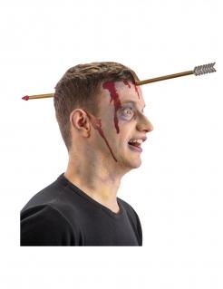 Durchbohrender Pfeil Horror-Kopfbedeckung für Halloween braun-grau