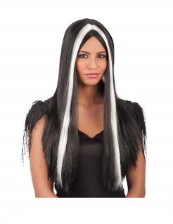 Düstere Langhaar-Perücke für Damen schwarz-weiss