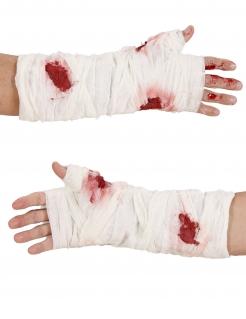 Blutiger Armverband Kostüm-Accessoire weiß-rot