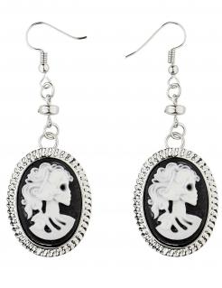 Skelett-Ohrringe im Kamee-Stil schwarz-weiß-silberfarben