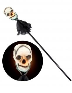 Totenkopf-Zepter mit Leuchteffekt Halloween-Accessoire schwarz-weiss 120 cm