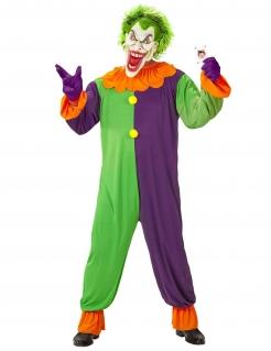 Wahnsinniges Psychoclown-Herrenkostüm für Halloween bunt