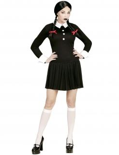 Gothic-Schulmädchen Kostüm für Damen Halloweenkostüm schwarz-weiss