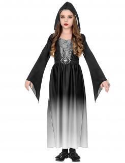 Spinnen-Hexenkostüm für Mädchen Halloweenkostüm schwarz-weiss