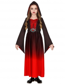 Schauriges Vampir-Kostüm für Mädchen Halloween-Kostüm rot-schwarz