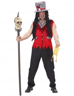 Voodoo-Priester-Kostüm für Herren Halloweenkostüm rot-weiss