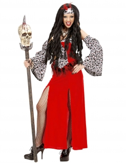 Voodoo-Kostüm für Damen Voodoo-Priesterin Halloweenkostüm rot