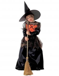Düsteres Hexenkostüm für Mädchen Halloweenkostüm schwarz-orange