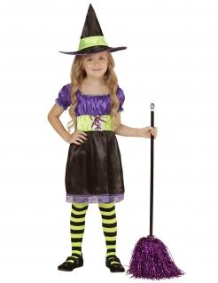 Bezaubernde Hexe Kinder-Kostüm schwarz-gelb-violett