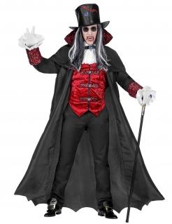 Guru-Vampirkostüm für Herren Halloweenkostüm schwarz-rot
