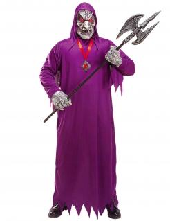 Schreckliches Dämonen-Kostüm für Herren mit Maske Halloweenkostüm violett
