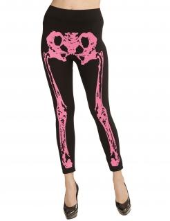 Skelett-Leggins für Damen schwarz-pink