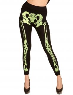 Skelett-Leggings für Damen Halloween-Accessoire schwarz-neongelb