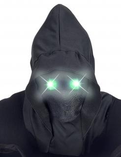 Düsteres Phantom Vollgesichtsmaske mit Kapuze und leuchtenden Augen für Erwachsene schwarz