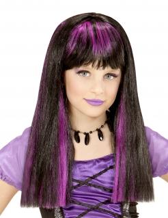 Hexenperücke für Mädchen mit Strähnen schwarz-violett