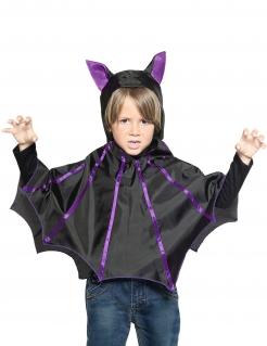 Fledermaus-Poncho für Kinder schwarz-violett
