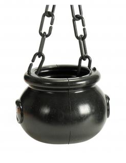 Kleiner Hexenkessel Halloween-Dekoration schwarz 12 cm