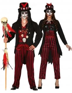 Gestreiftes Voodoo-Paarkostüm für Erwachsene Halloweenkostüm schwarz-rot