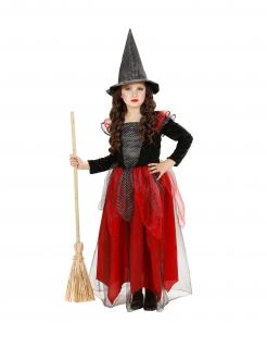 Glitzerndes Hexen-Kostüm für Mädchen Halloween-Verkleidung schwarz-grau-rot