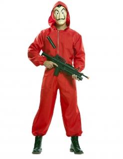 Haus-des-Geldes™-Kostüm Deluxe Overall mit Maske rot-beige