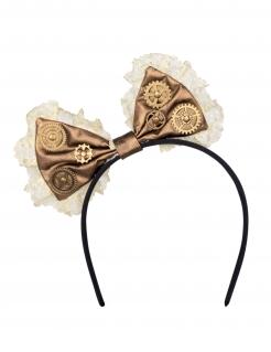 Steampunk-Schleife auf Haarreif braun-bronze-weiß