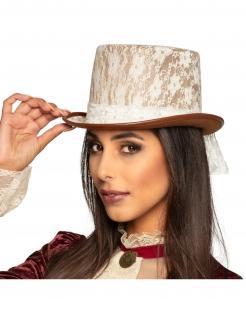 Steampunk-Hut für Damen Zylinder mit Spitze weiss-braun