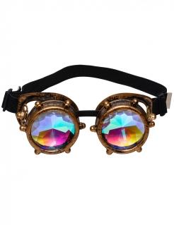 Außergewöhnliche Steampunk-Brille bronzefarben-bunt