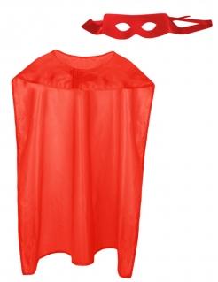 Superheld-Set für Erwachsene mit Cape und Maske rot