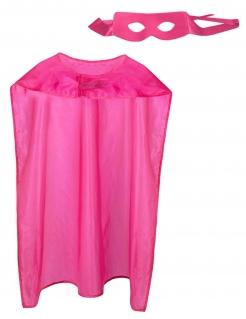 Superheld-Set für Erwachsene mit Cape und Maske pink