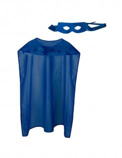 Superhelden-Set für Erwachsene mit Cape und Maske blau