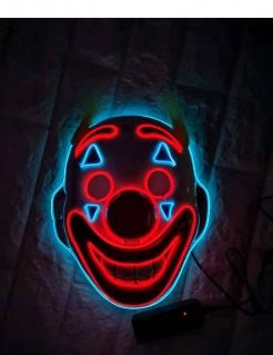 LED-Clown-Maske für Halloween bunt