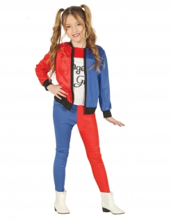 Modernes Clown-Mädchen-Kostüm für Kinder blau-rot-weiss