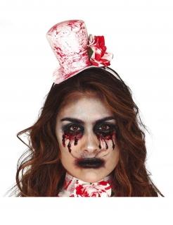Mini-Hut und Kragen blutbefleckt Zombie-Hut Halloween-Accessoire weiss-rot