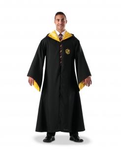 Hufflepuff™-Kostüm für Erwachsene Zauberumhang Halloween-Kostüm schwarz-gelb
