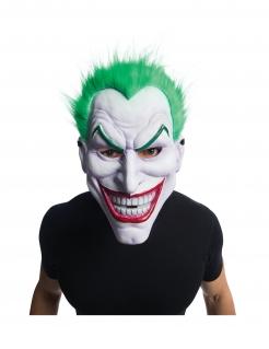Joker™-Maske mit Haaren Halloween-Vollmaske weiß-grün