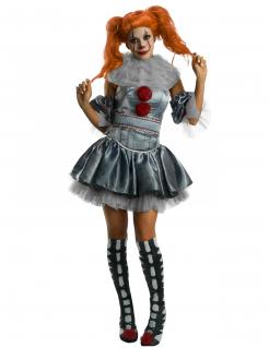 Es Pennywise™Kostüm für Damen Horrorclown grau-rot