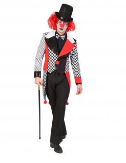 Harlekin-Frack für Herren Halloweenkostüm schwarz-weiss-rot