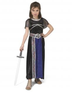 Kriegerin-Kostüm für Mädchen Mittelalter Halloween blau-schwarz
