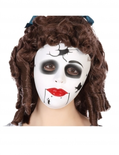 Zerbrochene Puppen-Maske Halloween-Accessoire weiss-schwarz