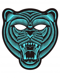 LED-Maske Tiger mit Reaktion auf Musik türkis-schwarz