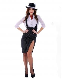 Gangsterbraut-Kostüm sexy Kostüm schwarz-weiss-rot