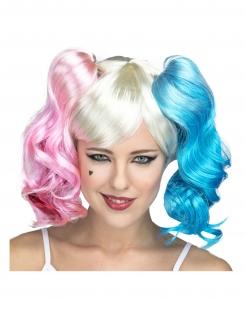 Harlekin-Perücke für Damen Film-Perücke Halloween-Accessoire blond-blau-rosa