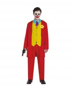 Trauriger-Clown-Kostüm für Jugendliche Arthur-Kostüm Film-Kostüm rot-gelb