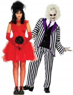 Poltergeist-Paarkostüm für Erwachsene Halloweenkostüm schwarz-rot-weiss