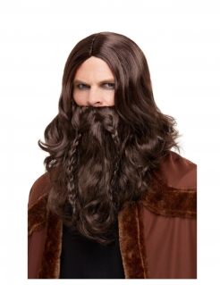 Wikinger-Perücke mit Bart für Untote Krieger und Geisterpiraten braun