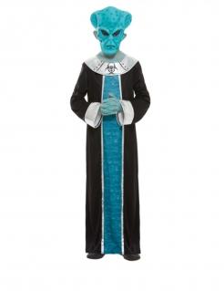 Alien-Kostüm für Kinder Halloween blau-schwarz-silber
